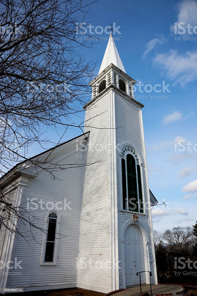 Congregational church in Edgecomb, Maine stock photo