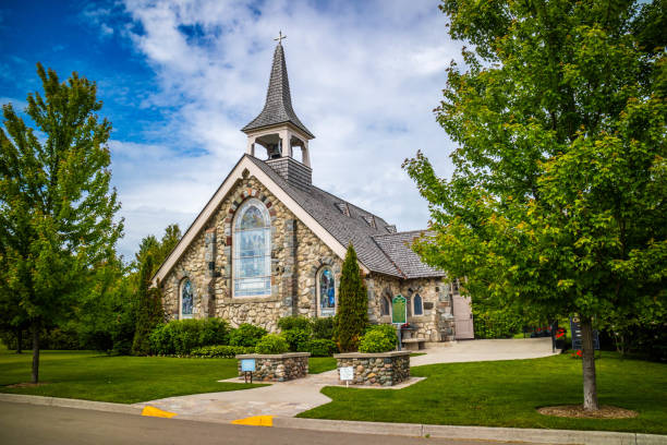 A congregational church in Mackinac Island, Michigan stock photo