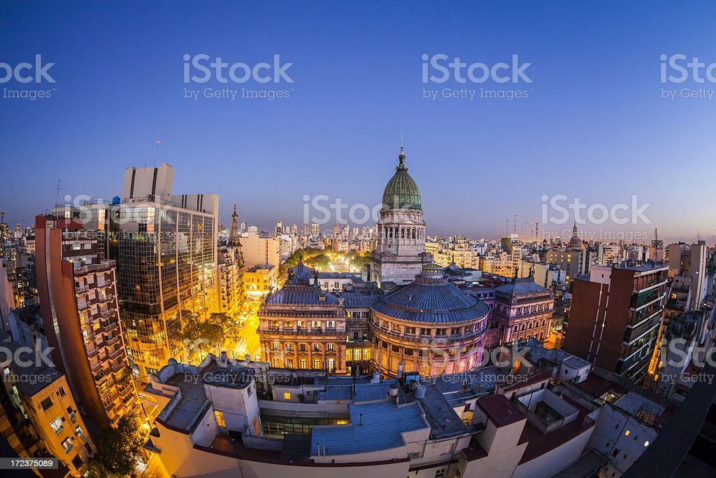 Congreso and Buenos Aires Skyline stock photo