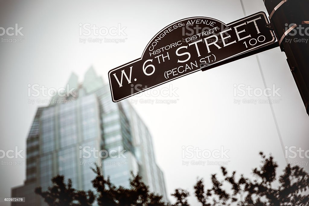 Congress Avenue and West 6th Street Sign in Austin Texas stock photo