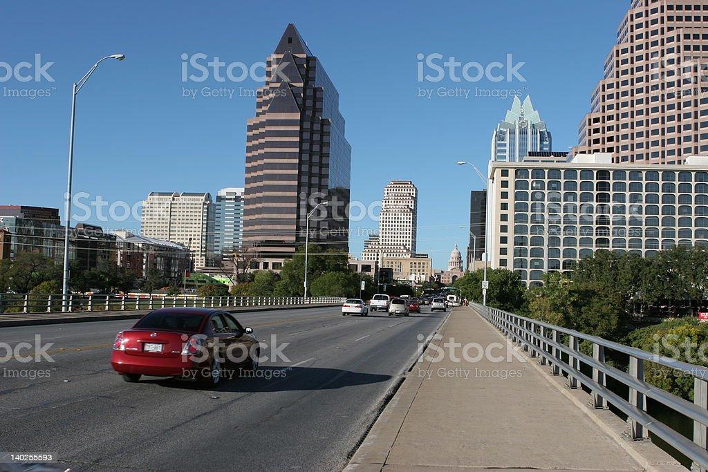 Congress Avenue at the Bat Bridge in Austin, Texas stock photo