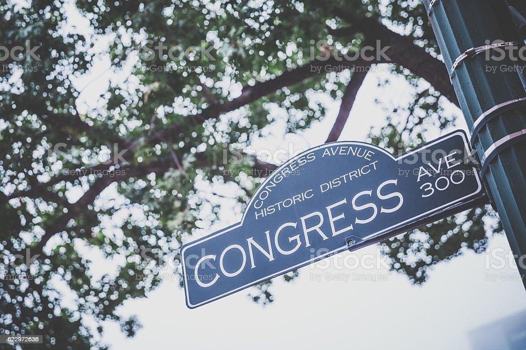 Congress Avenue Street Sign in Austin Texas stock photo