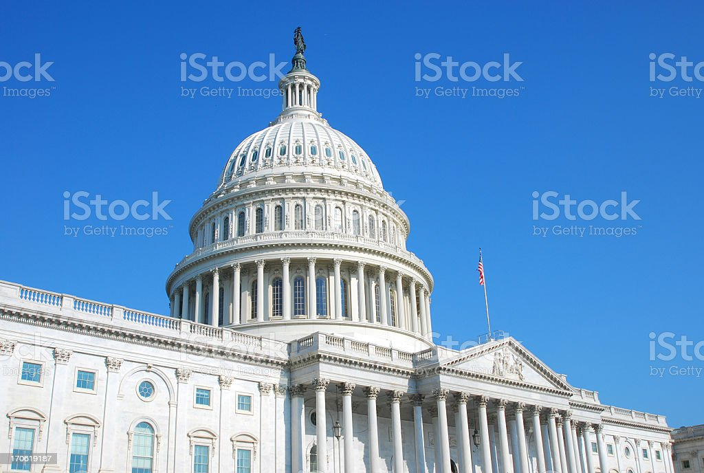 US Congress building in Washington DC and cloudless blue sky stock photo
