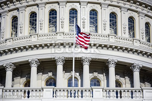 Picture of The Congressional building of The United States of America in Washington DC during spring time, with no people, and clear blue sky
