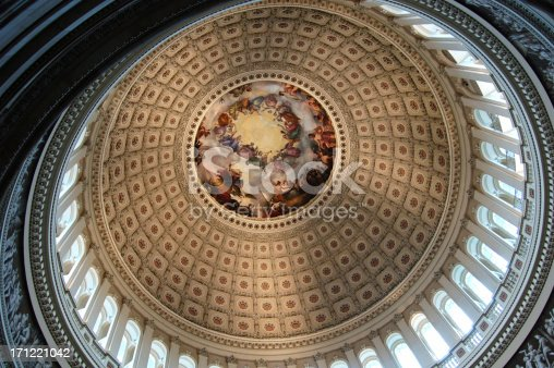 murals on the ceiling of the main US Congress dome