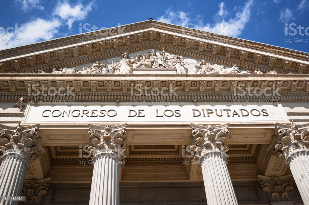 Congress of Deputies of Spain Entrance stock photo