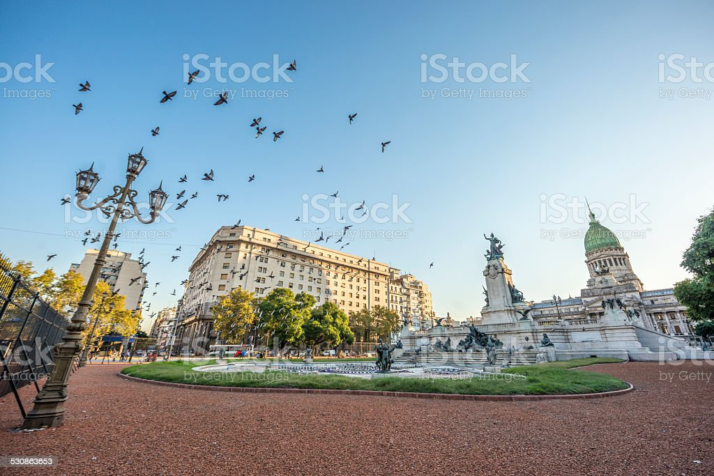 Congress Square in Buenos Aires, Argentina stock photo