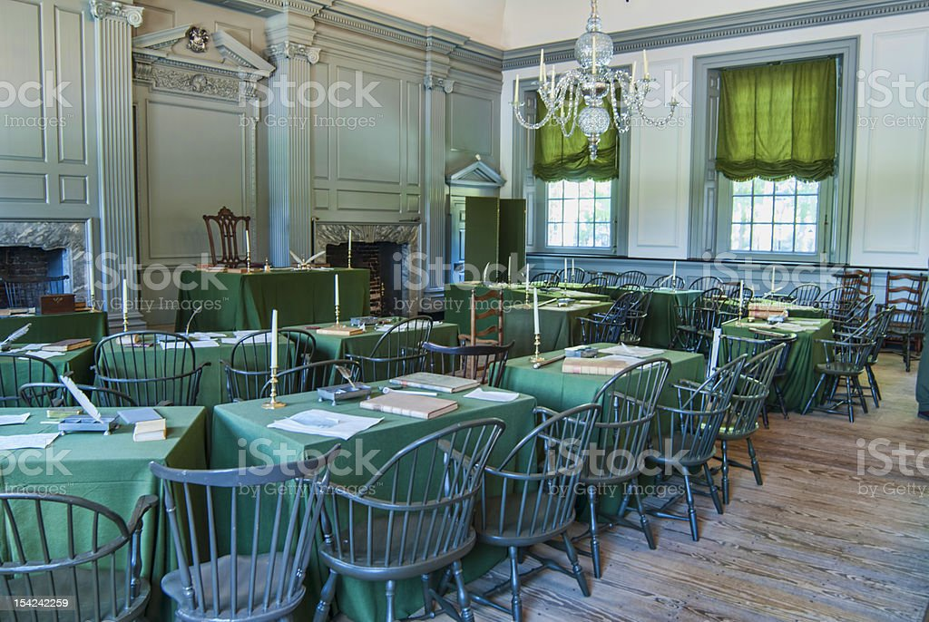 Congressional Meeting Room at Independence Hall stock photo