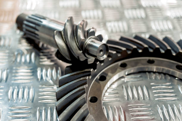 Conical helical gearing stock photo