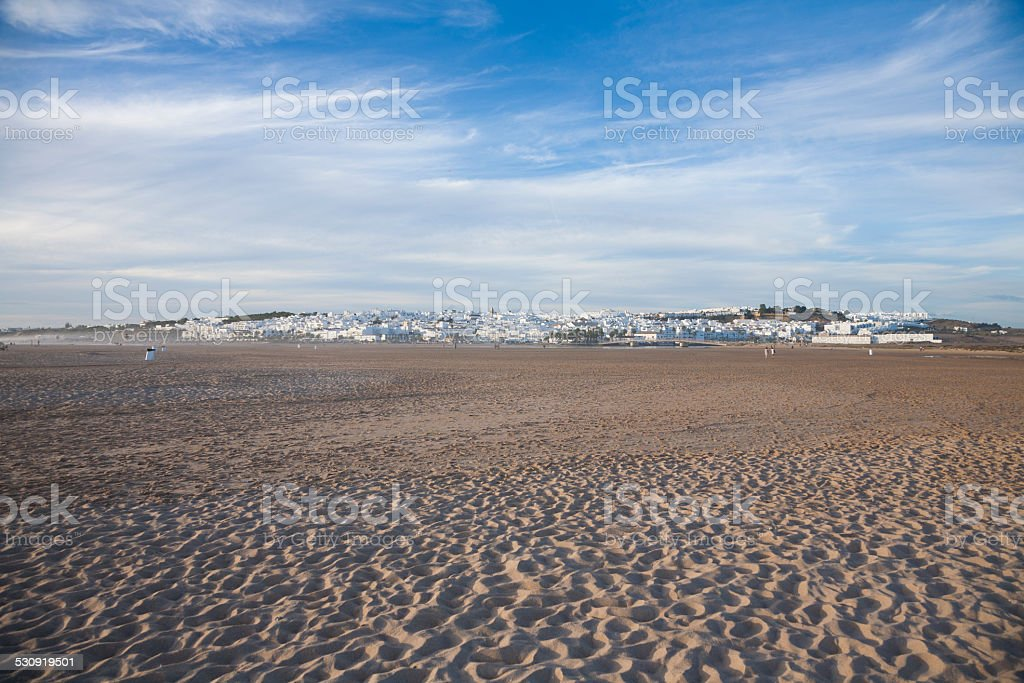Conil village from beach stock photo