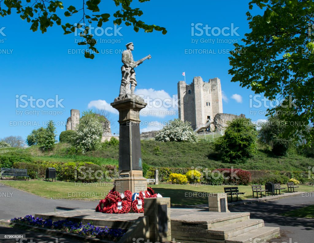 Conisbrough Castle And WWI War Memorial stock photo