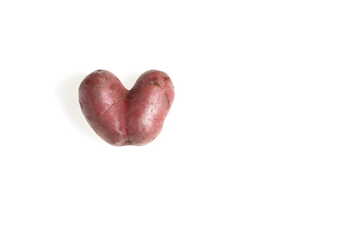 Conjoined Siamese potato on a white background with copy space. Potential use as wonky / funny / ugly vegetable or food waste concept. Horizontal orientation. Copy space.