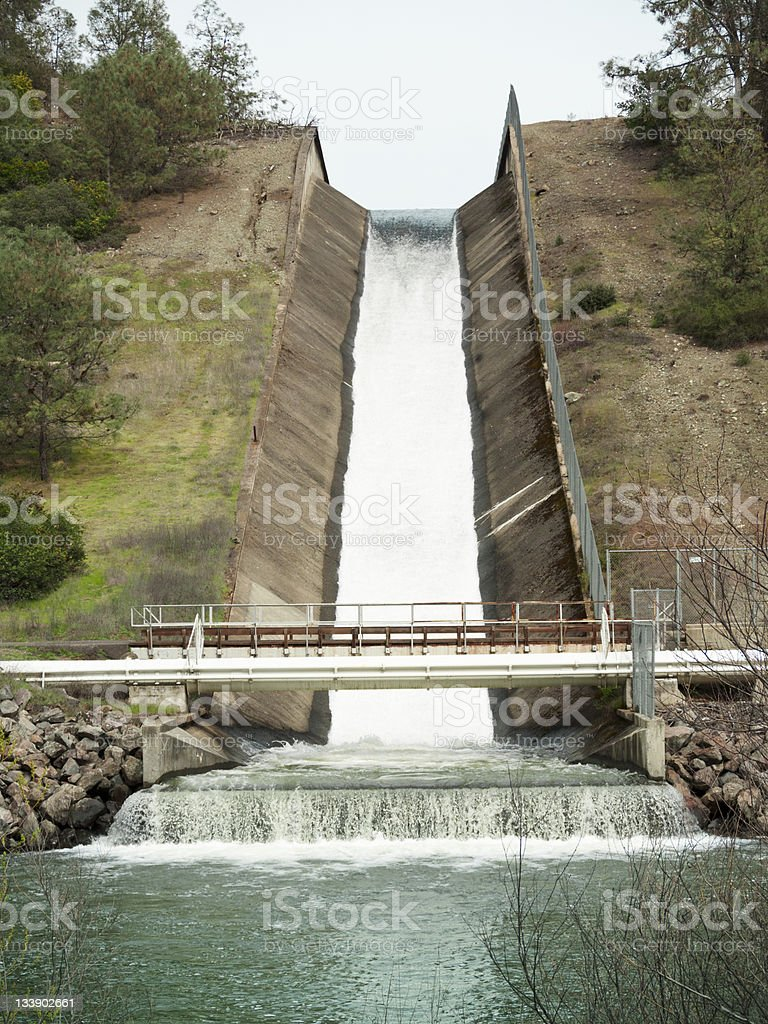 Conn Dam spillway Lake Hennessey, Napa County, California, 2011 stock photo