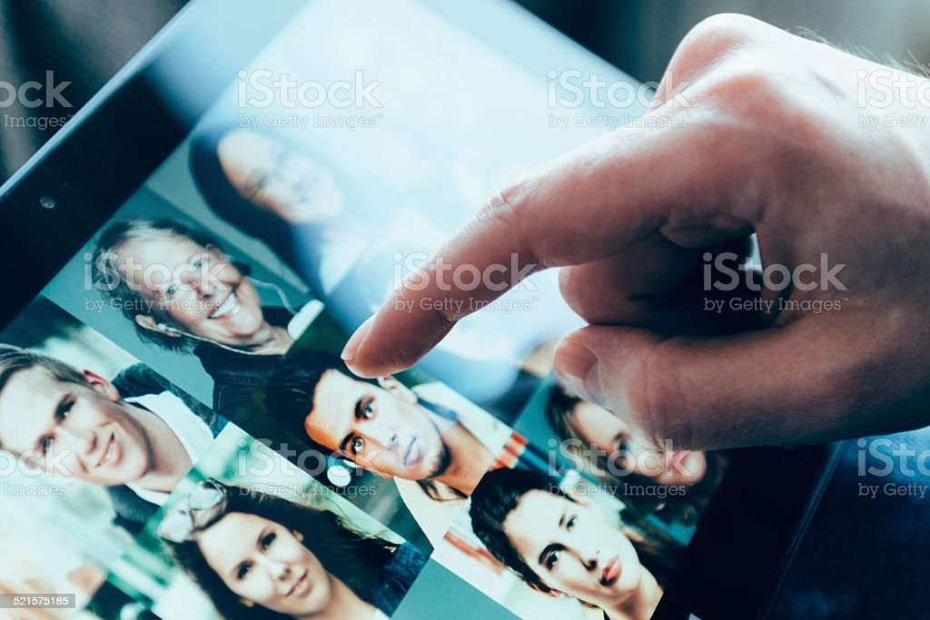 Connceting with people through social media stock photo
