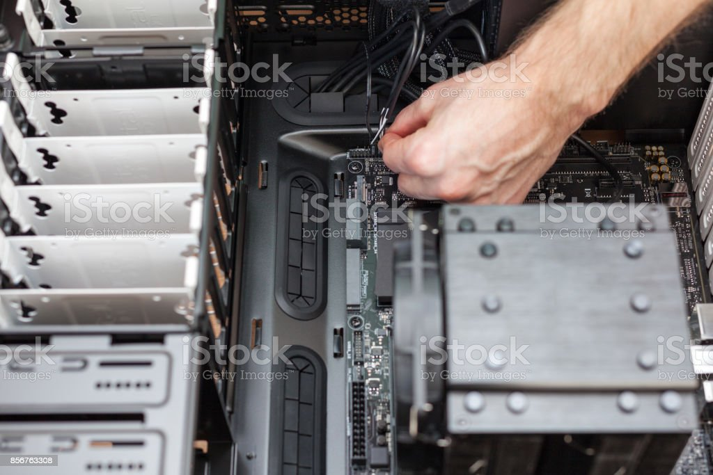 Connect Front Panel Connectors to the Motherboard stock photo