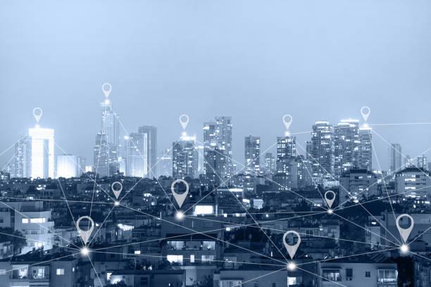 Verbinden Sie globale drahtlose Geräte. Drahtloses Kommunikationsnetzwerk – Foto