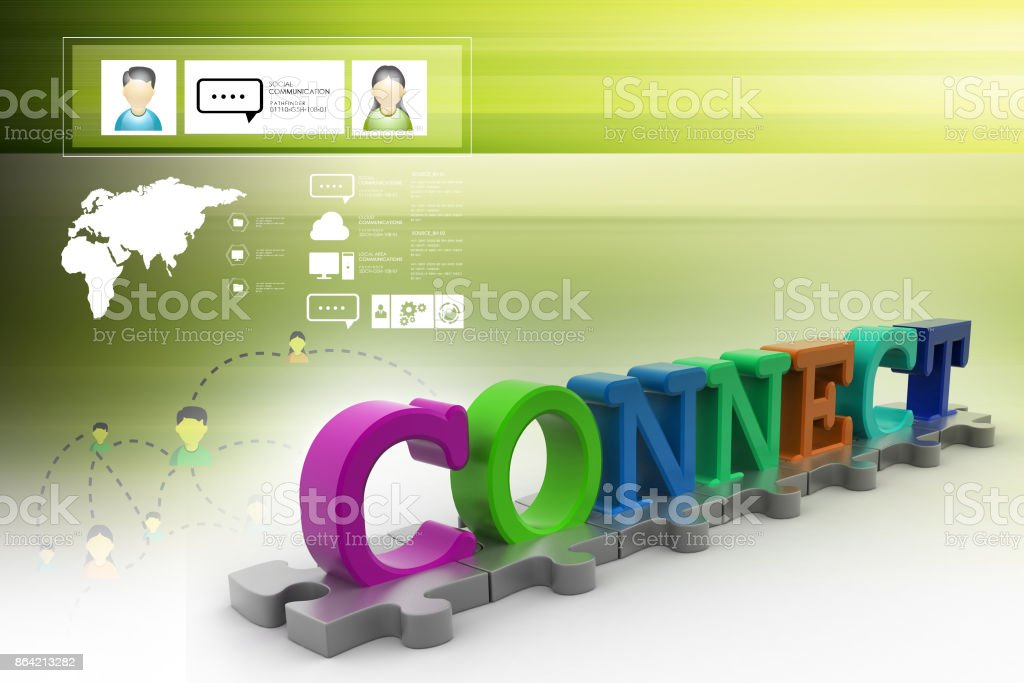 Connect - puzzle 3d royalty-free stock photo