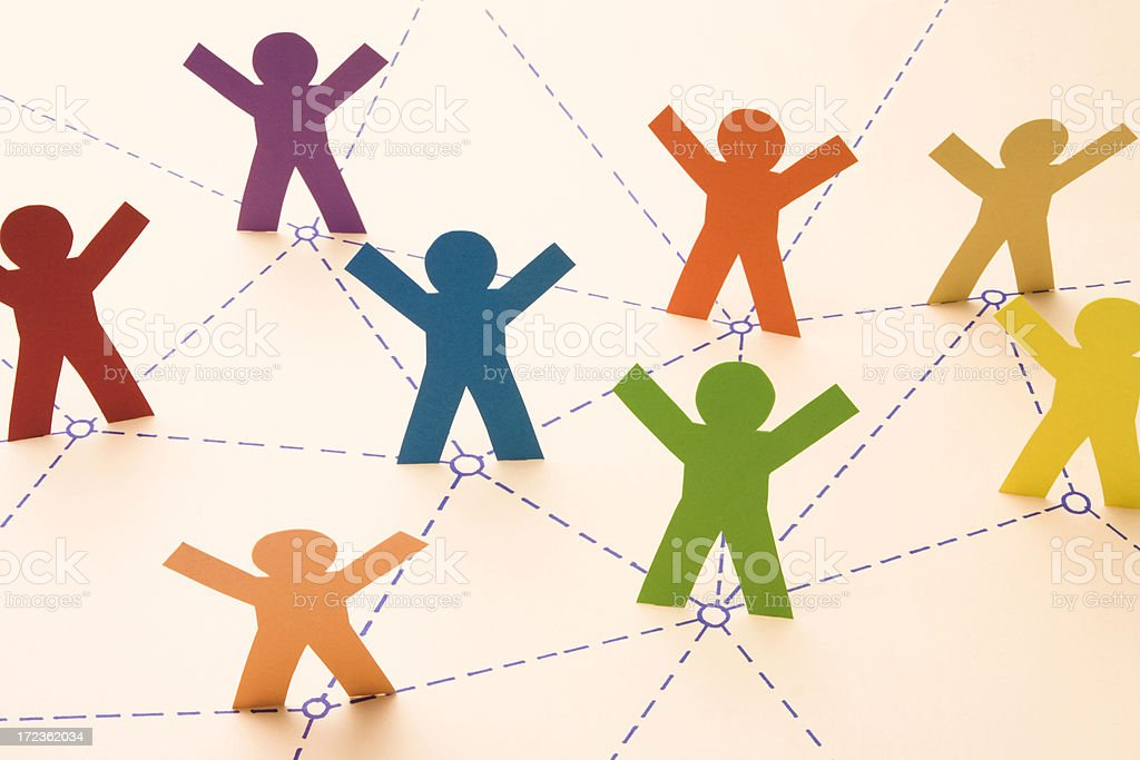 """Connect the dots... """"Colorful paper people networking together. Good depth of field, with sharp focus on the blue person. Similar:"""" Achievement Stock Photo"""