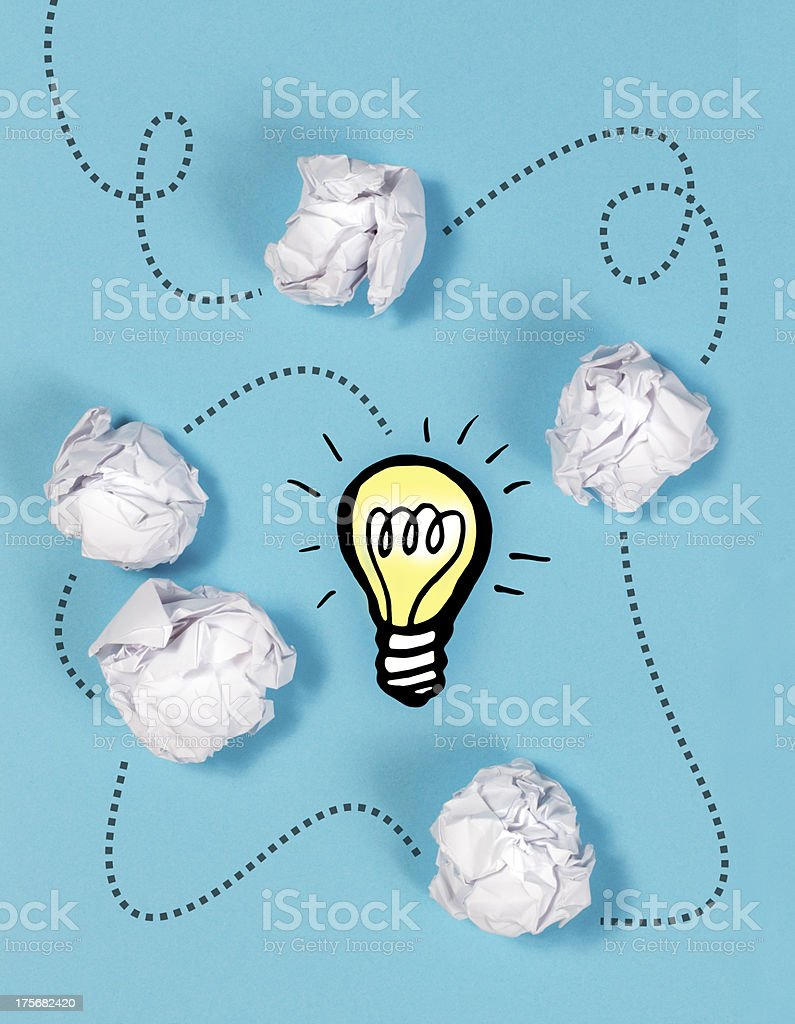 Connect the dots to a Bright Idea - Lightbulb stock photo