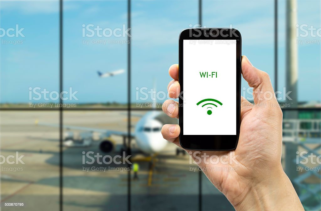 Connect wifi on the airport stock photo