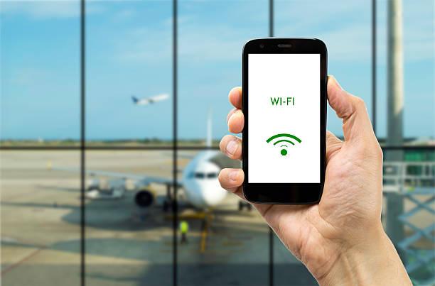 Connect Wi -Fi で、空港 ストックフォト