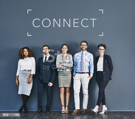 Studio shot of a group of businesspeople standing in line with the word connect above them against a gray background