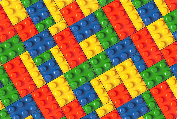 Connectable blocks in multiple colors stock photo