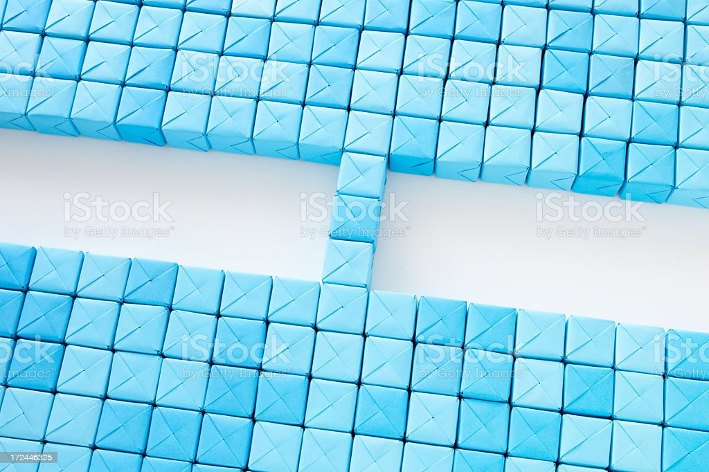 Connected blue cubes stock photo