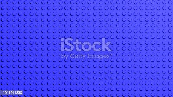 istock Connected blue lego blocks abstract background. 1011911330