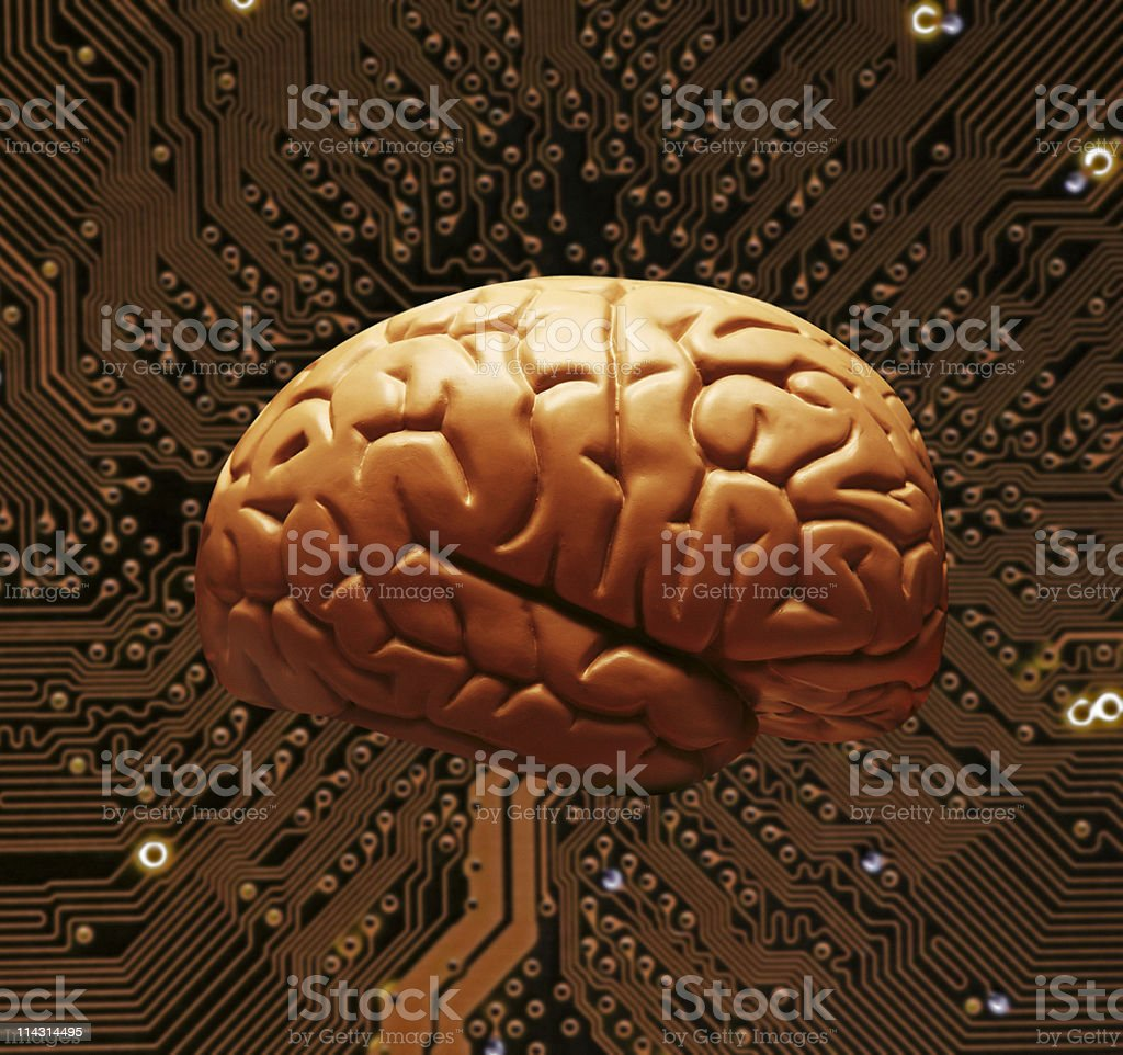 Connected brain royalty-free stock photo