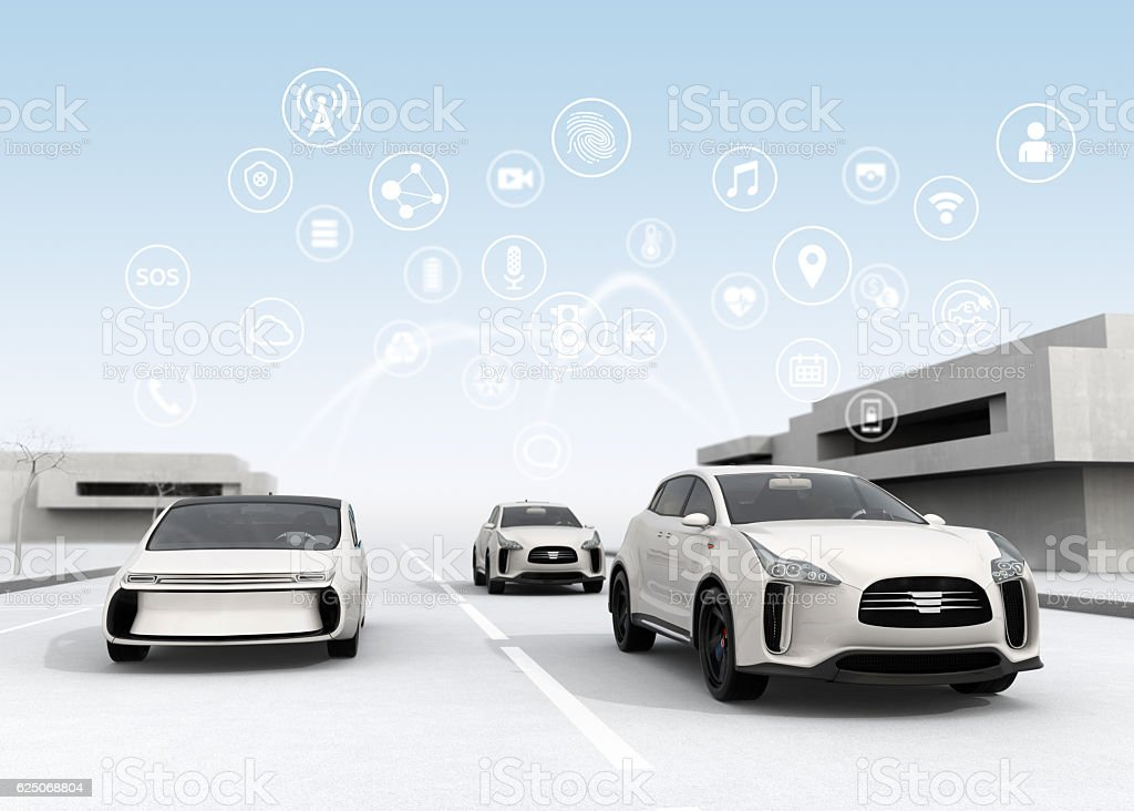 Connected cars and autonomous cars concept stock photo