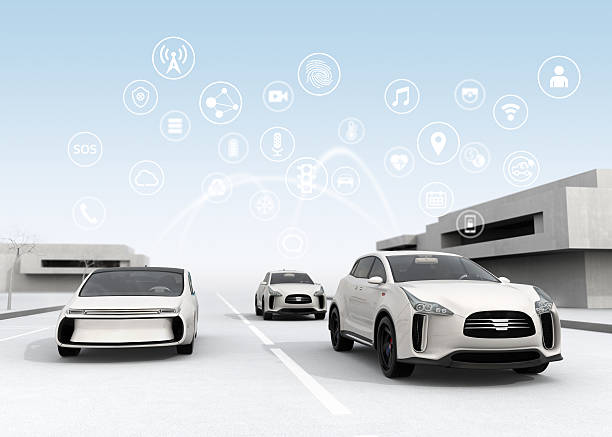 connected cars and autonomous cars concept - transportation icons stock photos and pictures