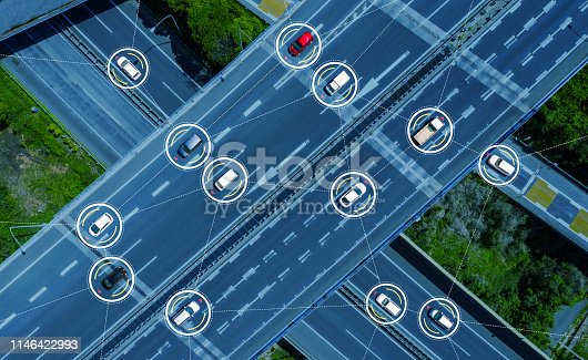 istock Connected cars concept. ITS (Intelligent Transport Systems). Autonomous car. 1146422993