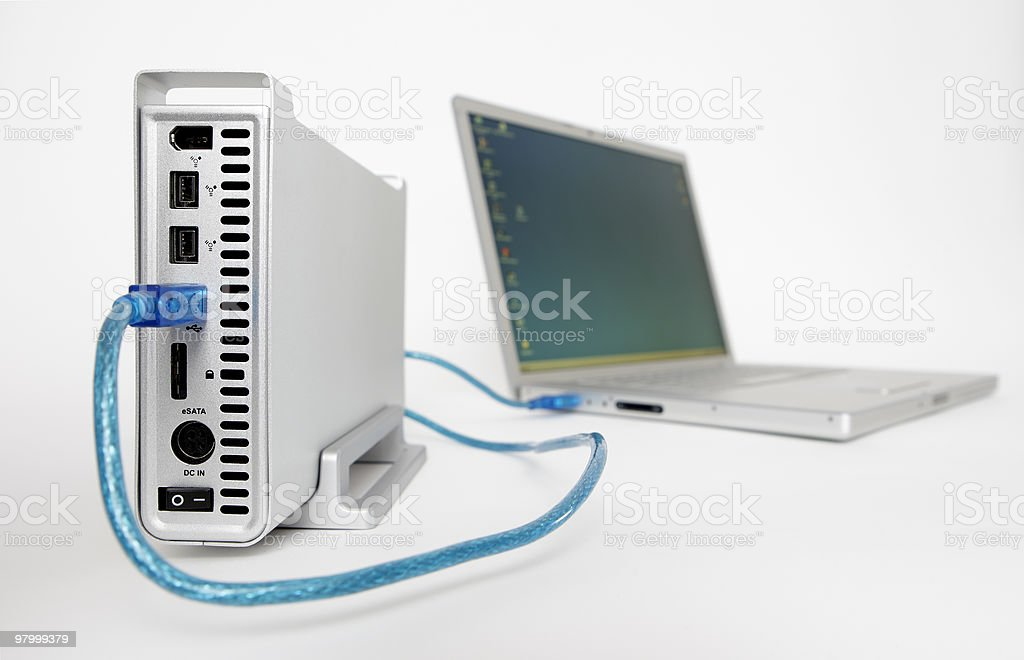 Connected external harddrive royalty-free stock photo