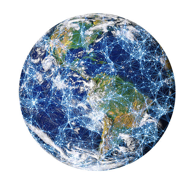 connected globe - physical geography stock photos and pictures