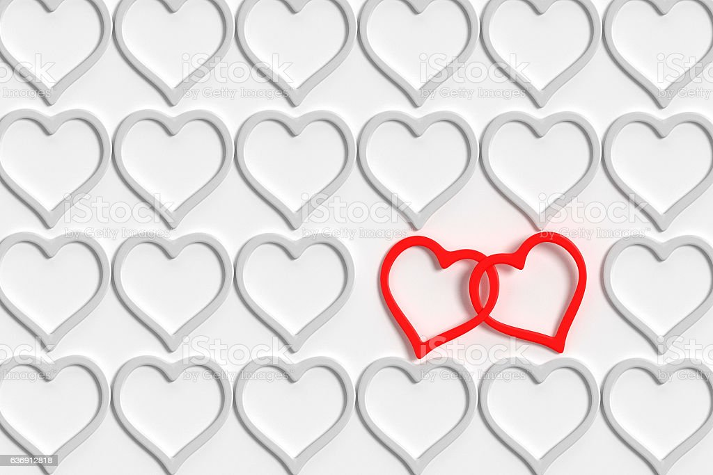connected hearts stock photo