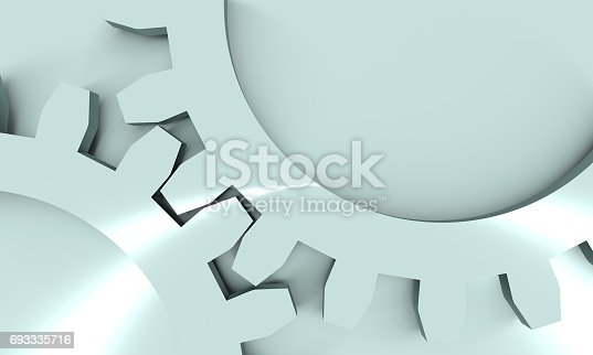istock Connected Metallic Material Gears. 693335716