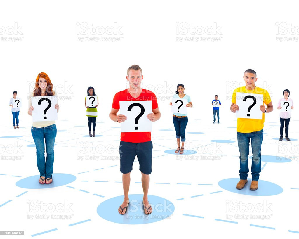 Connected Multi-Ethnic People Holding a Question Mark stock photo