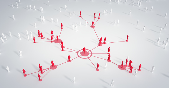 Abstract depiction of a group of connected people. Perfectly usable for a wide range of different topics like social media, business relationships and networking, the global spread of the coronavirus in 2020 or epidemiology in general.