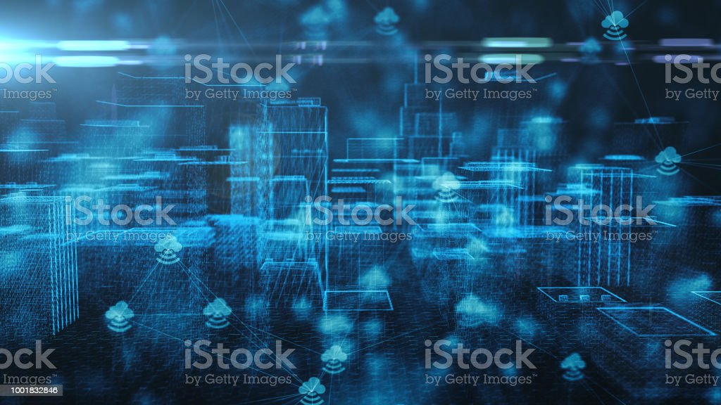Connected smart city IOT Internet of things cloud computing 5G network 3d render stock photo