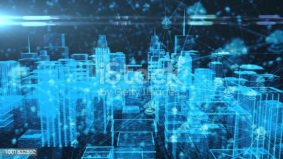 istock Connected smart city IOT Internet of things cloud computing 5G network 3d render 1001832852