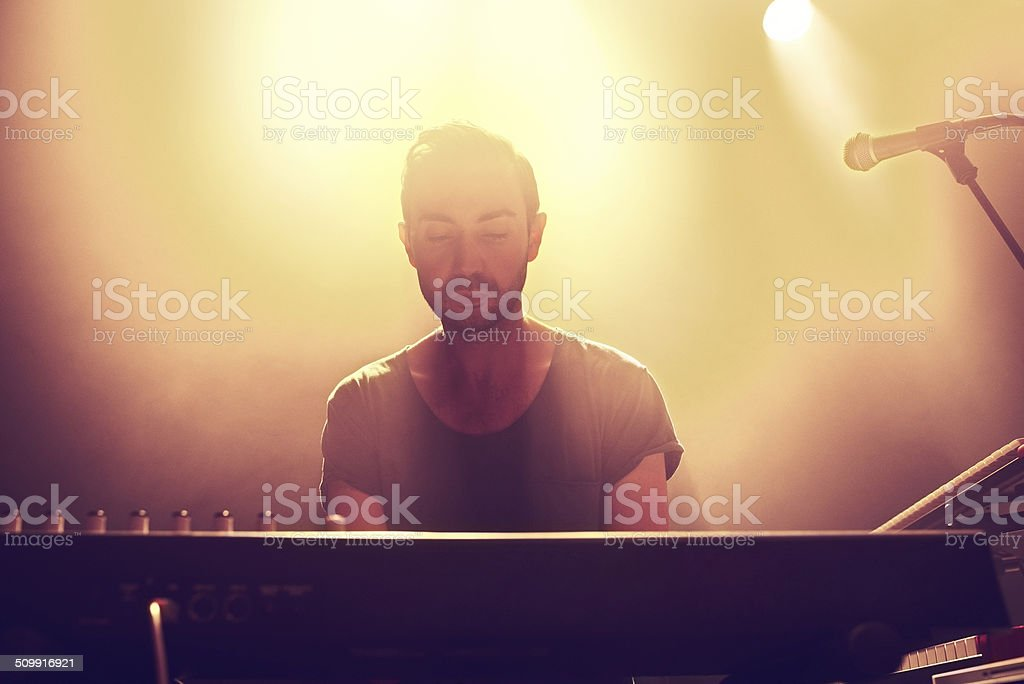 Connected to his music stock photo