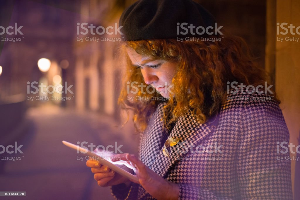 Connected Traveler Using Mobile Device stock photo