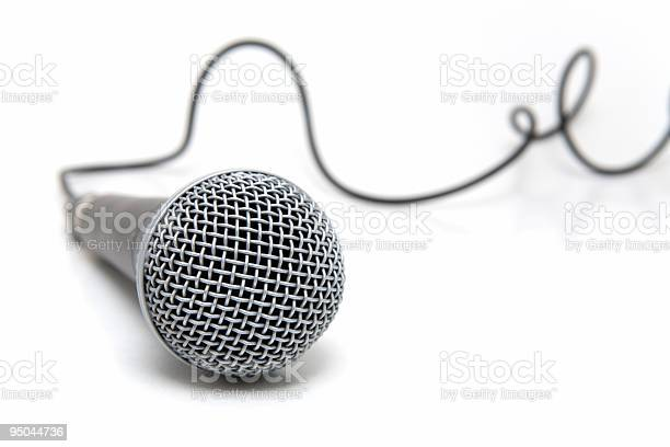 Connected Wired Microphone In Gray Stock Photo - Download Image Now