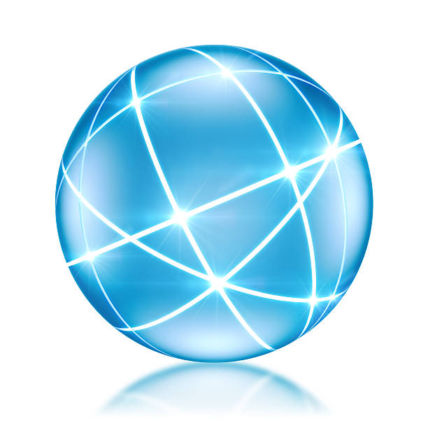 Connected World concept - Globe with glowing lines stock photo