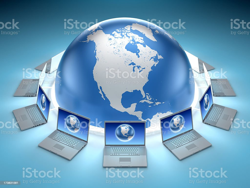 Connected world surrounded by laptops royalty-free stock photo