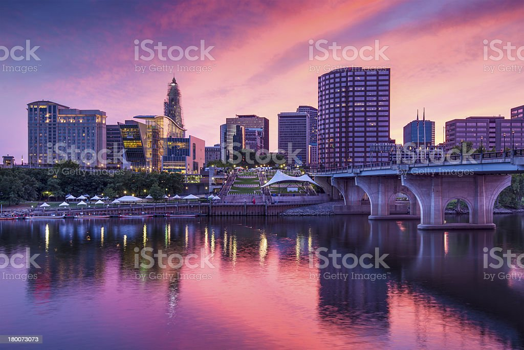 Connecticut skyline from downtown Hartford at dusk stock photo