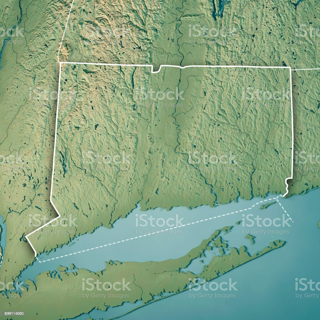 Topographic Map Of New England.Connecticut State Usa 3d Render Topographic Map Border Stock Photo