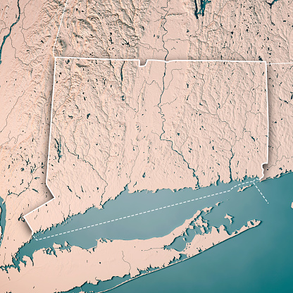 Connecticut State Usa 3drender Topographische Karte Neutral ...