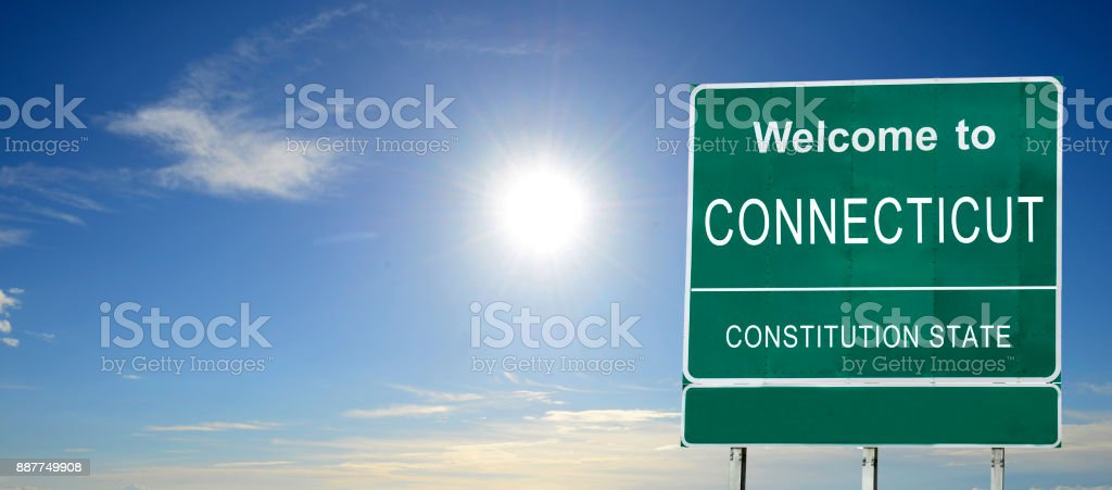 Connecticut, Welcome road sign stock photo